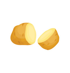 Two unpeeled halves of potato raw vegetable vector