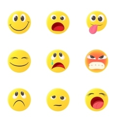 Types of emoticons icons set cartoon style vector
