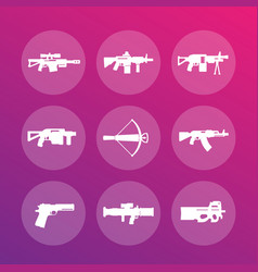 weapons firearms icons vector image