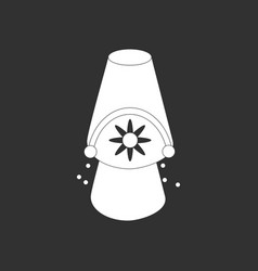 White icon on black background bucket and sand vector