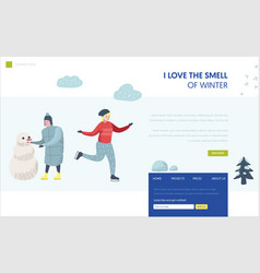 winter holidays landing page template character vector image