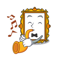 with trumpet picture frame mascot cartoon vector image