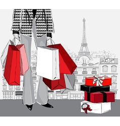 woman carrying shopping bags in Paris city vector image