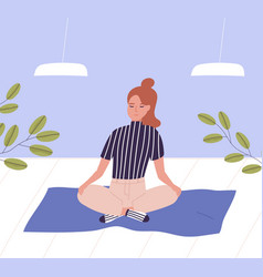 Woman with closed eyes sitting cross legged vector