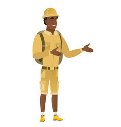 young african-american happy traveler gesturing vector image