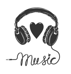 I love music Headphones with text isolated on vector image vector image