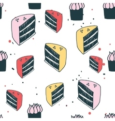 Piece of cake muffin dessert Delicious food vector image vector image