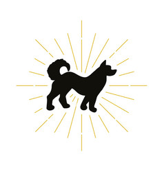 retro dog silhouette vector image