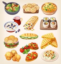 Set of colorful vegetarian food vector image