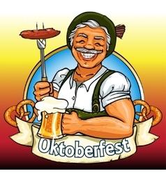 Smiling Bavarian man with beer and smoking sausage vector image