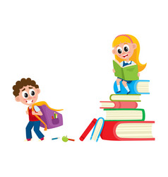 boy going to school girl sitting on book pile vector image vector image