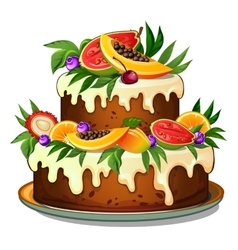 Cake decorated with tropical fruits vector image vector image