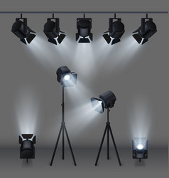 lighted stage with studio spotlights vector image