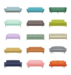 Set of fifteen sofas Elements of interior vector image