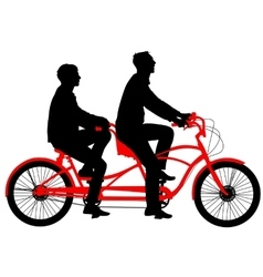 Silhouette of two athletes on tandem bicycle vector image