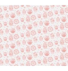 Tasty hand drawn seamless cupcake pattern vector image