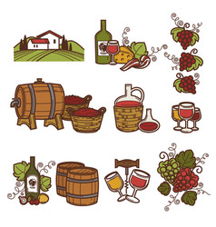 winemaking or wine production viticulture icons vector image