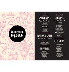 Menu ice cream restaurant template placemat vector image
