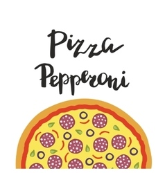 Pepperoni pizza and hand vector