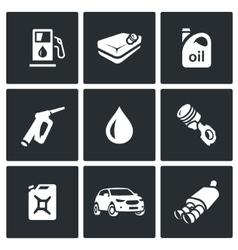 Set of Fuel Icons Petrol station gasoline vector image