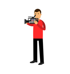 cameraman character looking through a professional vector image