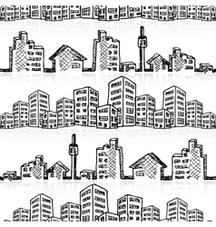 Cityscape sketch seamless vector image vector image
