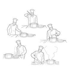cooking process with chef figures at the table in vector image