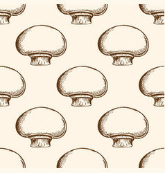 pattern with champignon mushrooms vector image vector image
