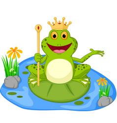 prince frog cartoon presenting vector image vector image