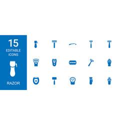 15 razor icons vector
