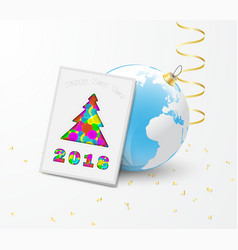 2018 new year greeting card and earth ball vector image
