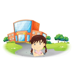 A young girl inside the hole in the road vector image