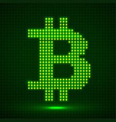 abstract neon sign bitcoin of dots vector image