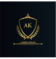 Ak letter initial with royal templateelegant vector