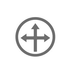 Arrow cross three-way different directional vector