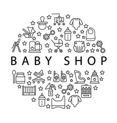 Baby items circle banner with flat line icons vector