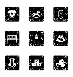 Baby supplies icons set grunge style vector