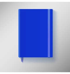 Blue copybook with elastic band and bookmark vector image