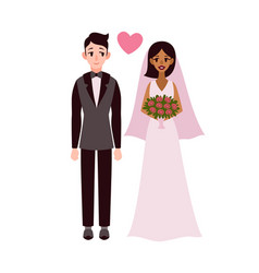 bride and groom happy romantic multiethnic couple vector image