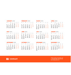 calendar for 2020 year week starts on monday vector image