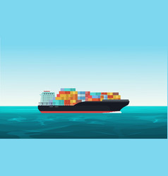 Cargo transportation ship with containers vector