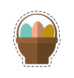 Cartoon basket with easter egg vector