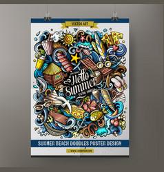 cartoon doodles summer beach poster vector image