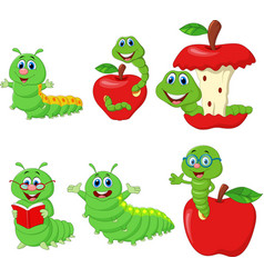 cartoon funny caterpillar collection set vector image