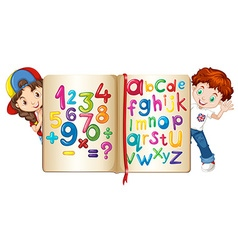 Children with book of numbers and alphabets vector image