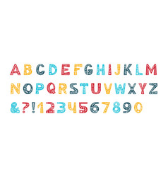 Christmas alphabet color typeset vector