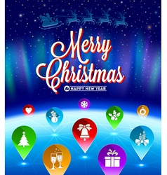 Christmas map pointers with flat icons vector
