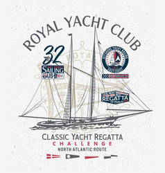 classic yacht club sailing atlantic regatta vector image