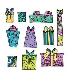 Colorful present boxes set vector