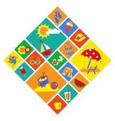 colorful set of summer icons vector image vector image